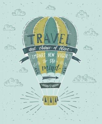Plakat Podróżować. Wektor ręcznie rysowane ilustracja do druku t-shirt lub plakat z ręki napis cytat.