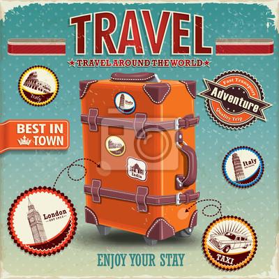 Podróży bagażu vintage plakat z etykietami