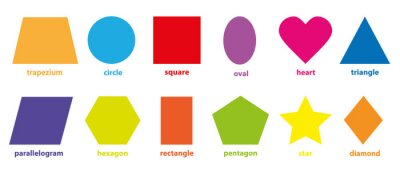 Plakat Podstawowa kolekcja geometrycznych kolorowych kształtów 2D