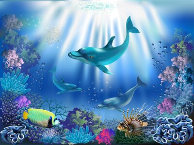 Plakat Podwodny świat z delfinami i roślin