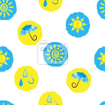 055ad3dd98cbc Plakat Pogoda tle przerywana. Jednolite wzór z żółtych i niebieskich kręgów  na białym tle.