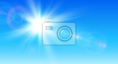 Plakat Pogodny tło, niebieskie niebo z słońcem i obiektywu racą
