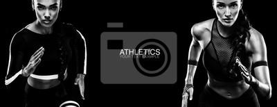 Plakat Pojęcie sportu. Czarno-białe zdjęcie. Koncepcja Runner.