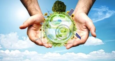 Plakat Pojęcie świata zielony z aerogenerator, panel słoneczny i turbina