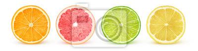 Plakat Pojedyncze plasterki owoców cytrusowych. Świeże owoce cięte na pół (pomarańczowy, różowy grejpfrut, limonka, cytryna) z rzędu na białym tle na białym tle ze ścieżką przycinającą