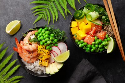 Plakat Poke bowls with shrimps, salmon, avocado and mango