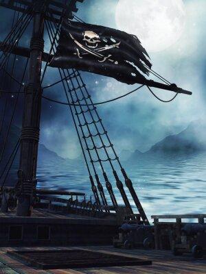 Plakat Pokład pirackiego Statku z Czarną Flaga
