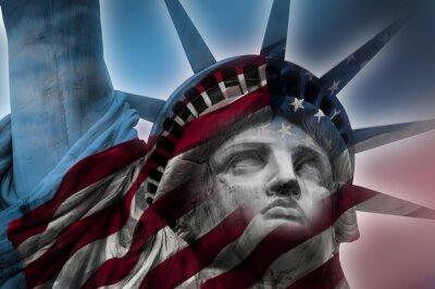 Plakat Pokój ekspozycji obrazu Statua Wolności i flagi amerykańskiej