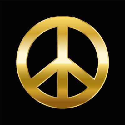 Plakat Pokoju symbol - Złoty Gradient na czarnym tle - ilustracji wektorowych.