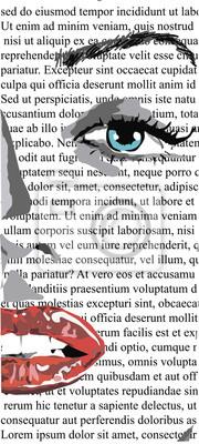 Plakat Pół twarzy dziewczyny z czerwonymi ustami na białej gazecie, jak zwykły monroe linowy. clipart pięknej kobiety z czerwonymi ustami, jak monroe zwyczajny lin.