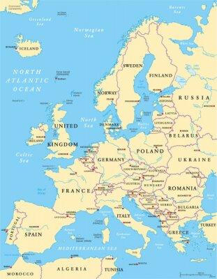 Plakat Polityczna mapa Europy