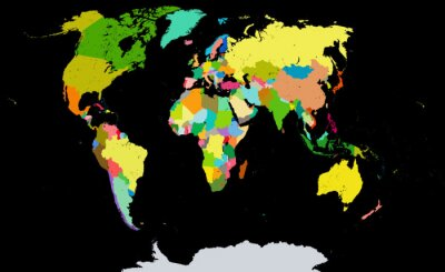 Plakat Polityczna mapa świata.