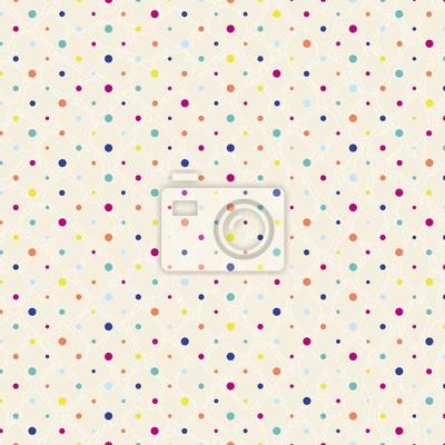 Plakat polka dots pattern, seamless z grunge tle, styl retro