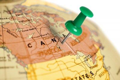 Plakat Położenie Kanada. Zielony pin na mapie.