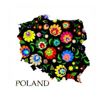 Plakat Polska Kształt wypełnione wektor wzór tradycyjnego polskiego folk