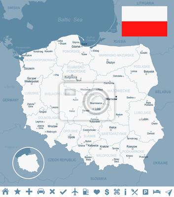 Plakat Polska - mapa i flaga ilustracji