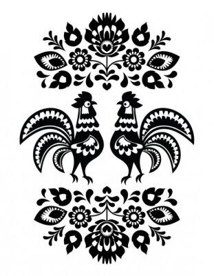Plakat Polski etnicznej kwiatowy haft z koguty w czerni i bieli