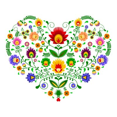Plakat Polski folklor - wzór w kształcie serca