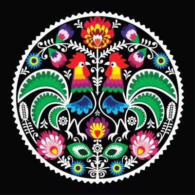 Plakat Polski haft kwiatowy z koguty - tradycyjna ludowa