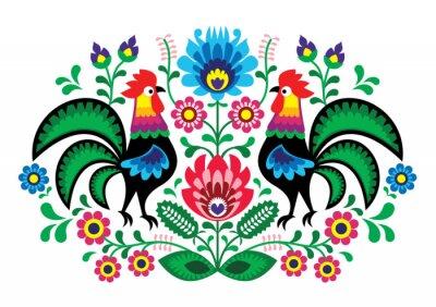 Plakat Polski kwiatowy haft z kogutów - tradycyjny wzór folk