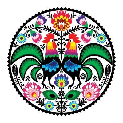 Plakat Polskie hafty z motywem kwiatowym roosters ludowej