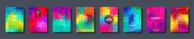 Plakat Polygonal abstract background with squares. Colorful gradient design. Low poly geometric rectangle shape modern banner. Vector illustration.