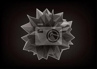 Polyhedron do projektowania graficznego na czarnym tle. Niska poli