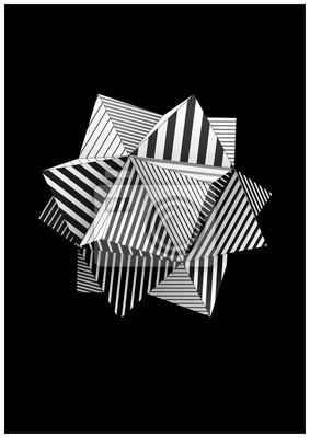 Polyhedron z czarno-białe paski twarzy