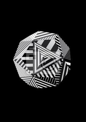 Polyhedron z czarno-białe paski twarzy do plakatu