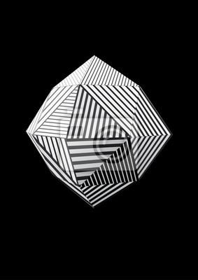 Polyhedron z czarno-białe paski twarzy do projektowania graficznego