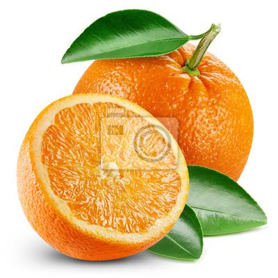 Plakat pomarańczowe owoce z liściem
