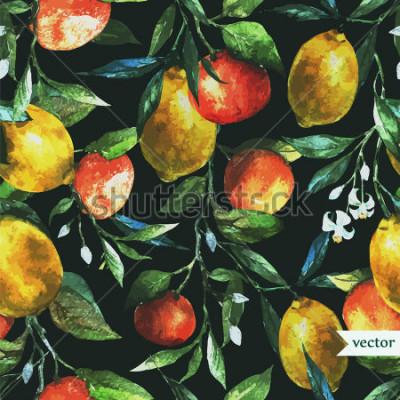 Plakat pomarańczowy, cytrynowy, akwarela, tło, ciemny, wzór