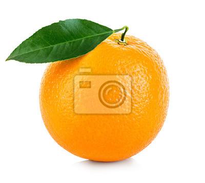 Plakat Pomarańczowy owoc samodzielnie na białym tle.