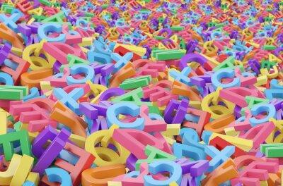Plakat Pomiar z 3D kolorowych liter alfabetu.