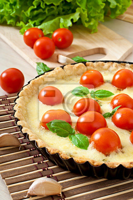 pomidor, ser i bazylia tart