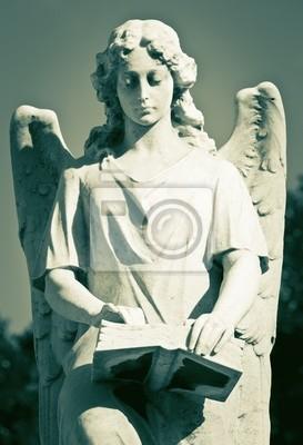 Plakat Pomnik Anioł piękne kobiety trzyma książkę w zielonkawym sh