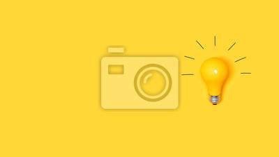 Plakat Pomysł żarówka na żywym żółtym tle