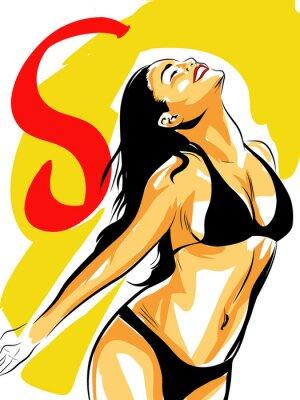 Plakat pop art femme heureuse sexy bronzage soleil