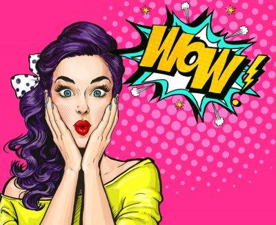 Plakat Pop Art ilustracja, zaskoczony girl.Comic kobieta. Wow.Advertising plakat. Dziewczynka Pop Art. Zaproszenie na przyjęcie.
