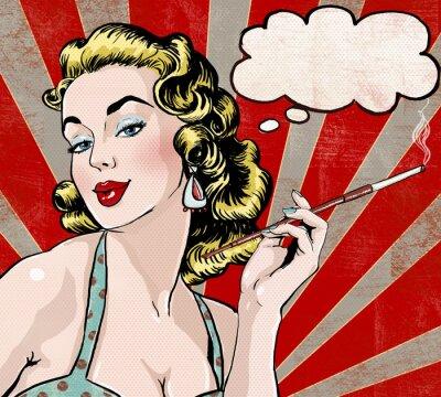 Plakat Pop Art kobieta z dymka i papierosów.