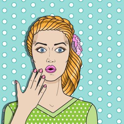 Plakat Pop kobieta sztuka mylić, rude włosy zdziwiona kobieta. Komiks wektor kobieta.
