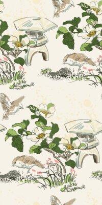 Plakat poppy flower toro bird nature landscape view vector sketch illustration japanese chinese ink seamless pattern