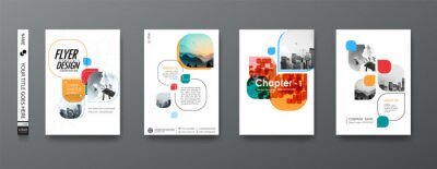 Plakat Portfolio geometric design vector set. Abstract blue liquid graphic gradient circle shape on cover book presentation. Minimal brochure layout and modern report business flyers poster template.