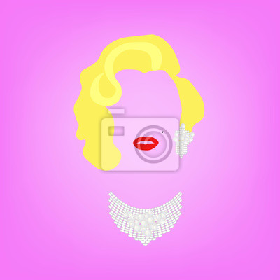 Plakat portrait fashion woman minimalist, fashion blonde woman with precious jewels, pearls and diamonds, vector isolated on pink background