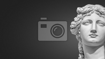 Plakat Portrait of a statue of young beautiful sensual Renaissance Era women in Vienna at smooth gradient grey background, Austria