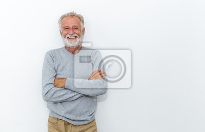 Plakat Portrait of healthy happy smile senior elderly caucasian old arm crossed with copy space isolated on white. Golden age healthcare cheerful lifestyle freedom relax retirement concept