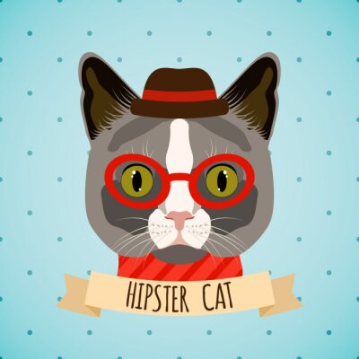 Plakat Portret Kot hipster