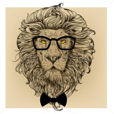 Plakat portret postaci lwa