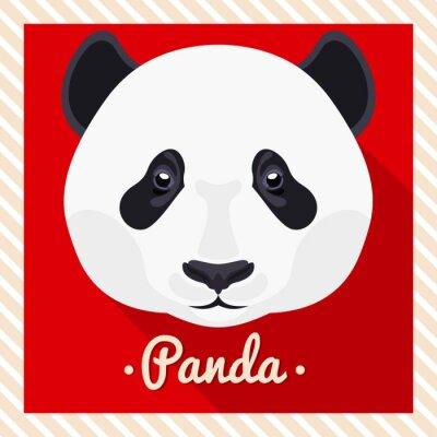 Plakat Portret wektorowa panda. Symetryczne portrety zwierząt. Ilustracja wektora, karty z pozdrowieniami, plakat. Ikona. Zwierząt twarz. Napis czcionki. Obraz twarzy Panda.