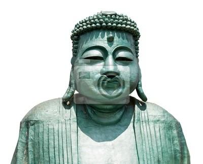Plakat Posąg Buddy samodzielnie na białym tle